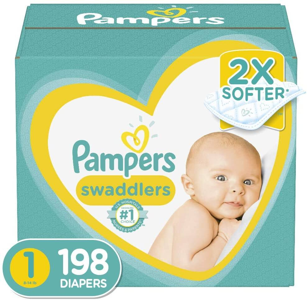 198-Count Pampers Swaddlers Disposable Baby Diapers (Size 1)