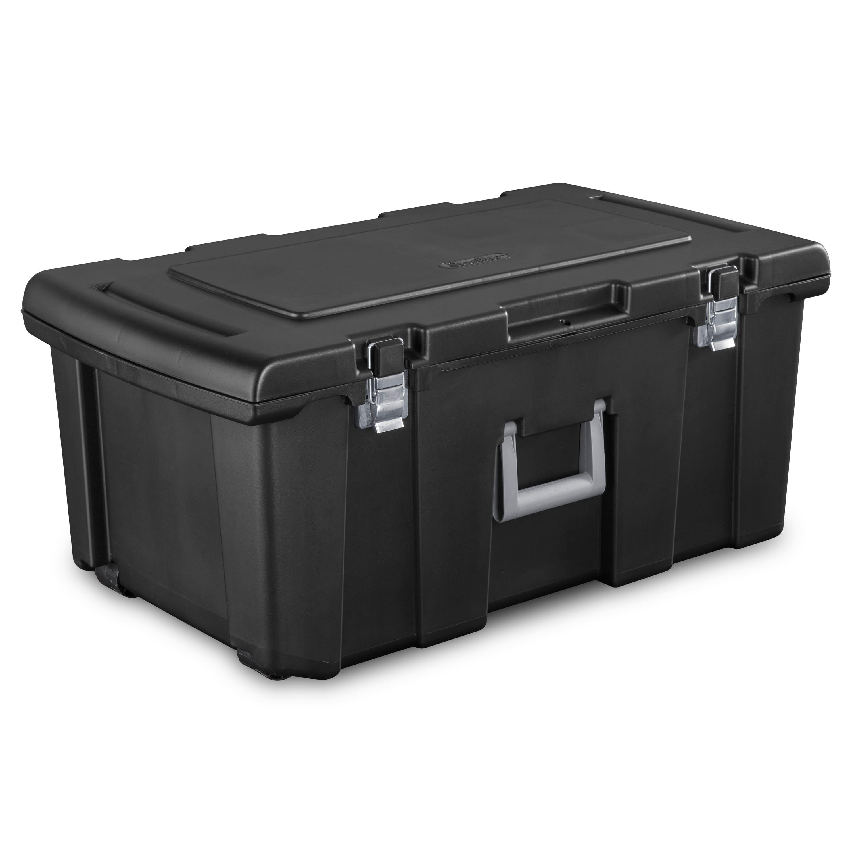 16-Gallon Sterilite Footlocker Storage Box w/ Wheels (black)