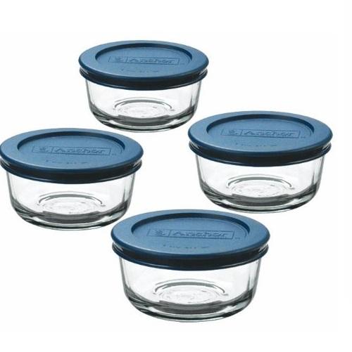 Anchor Hocking 玻璃保鲜盒4件装,每个1 Cup容量