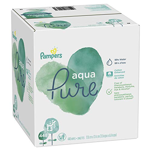 Pampers Aqua Pure Sensitive Water Baby Diaper Wipes, 8X Pop-Top Packs, 448 Count