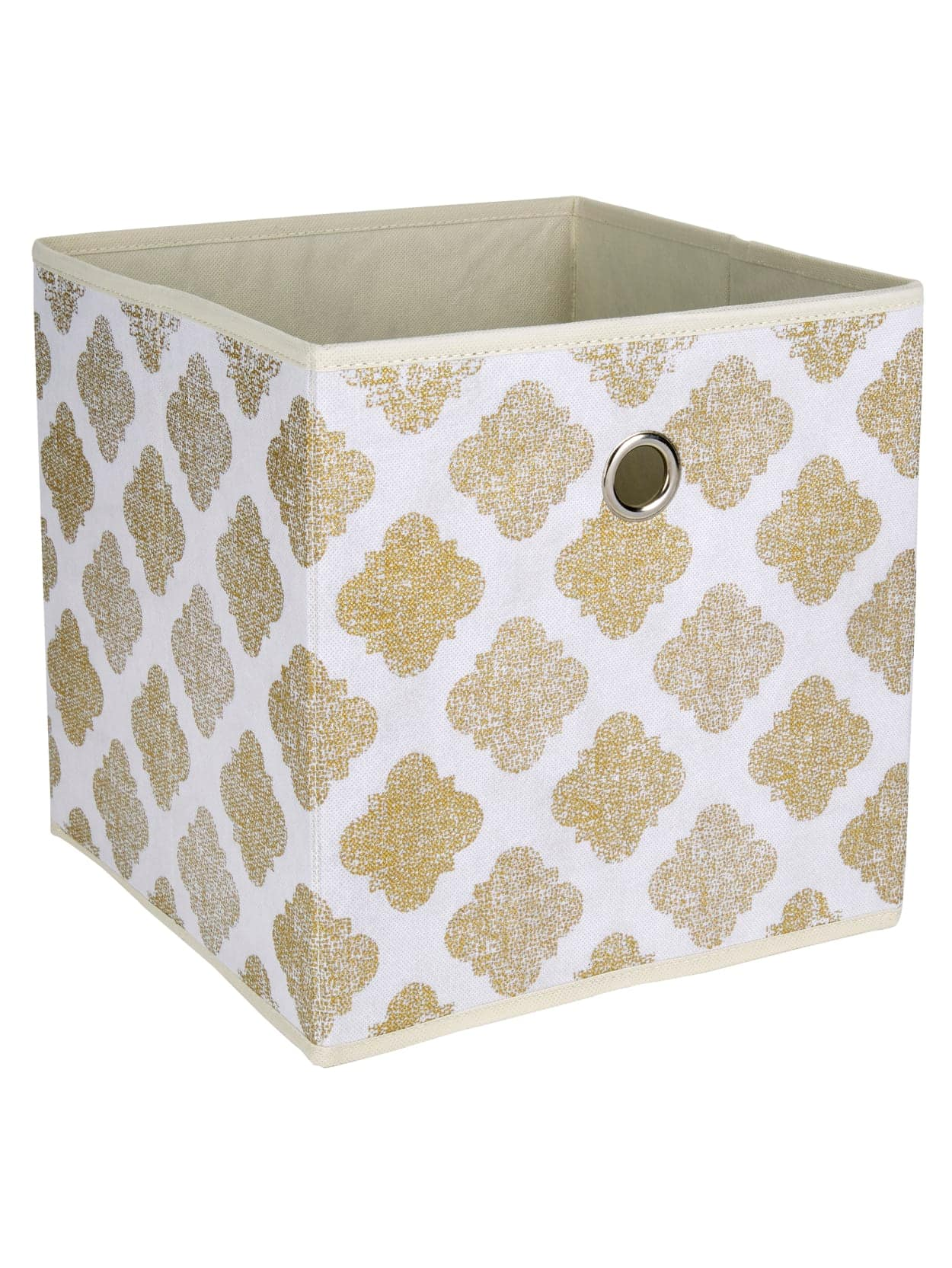 "Realspace 12"" x 12"" x 12"" Fabric Storage Cube (Metallic Gold Print)"
