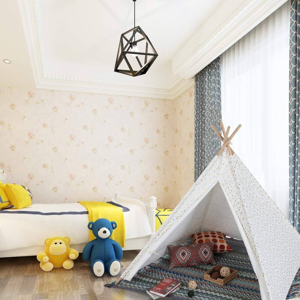 Alpha Home Teepee Kids Canvas Play Tent w/ Carry Bag