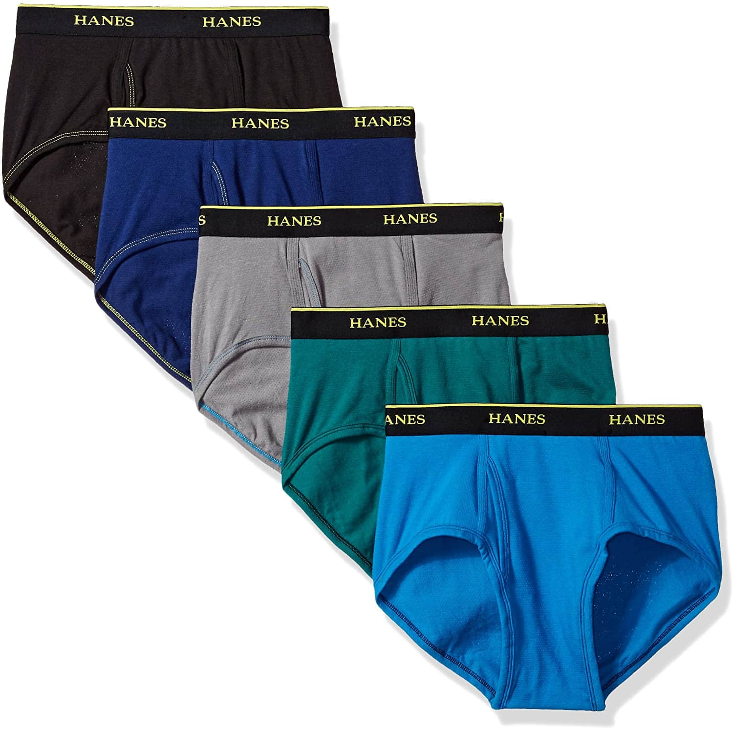 5-Pack Hanes Men's Cool Comfort Lightweight Breathable Mesh Briefs (Large)