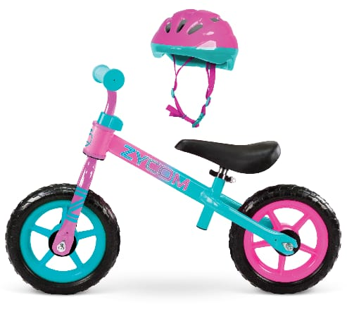 "10"" Zycom My 1st Balance Bike w/ Helmet (blue/green or teal/pink)"