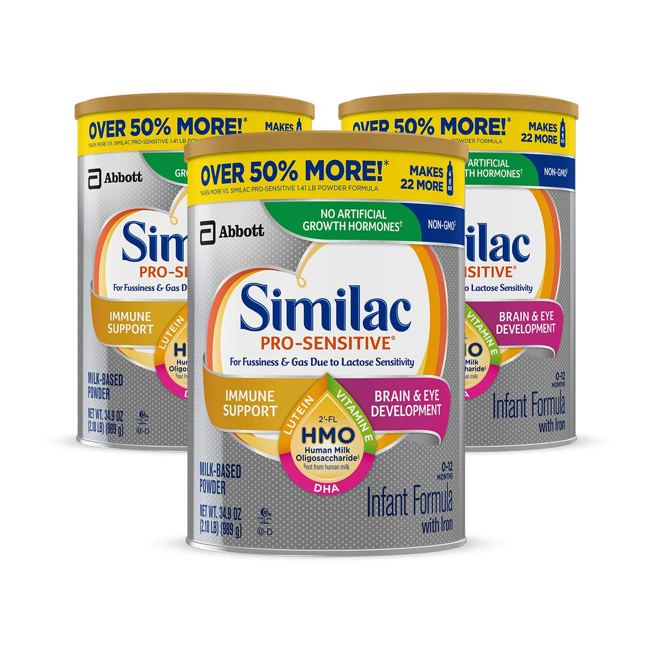 3-Count 34.9oz Similac Pro-Sensitive Non-GMO Infant Formula w/ Iron