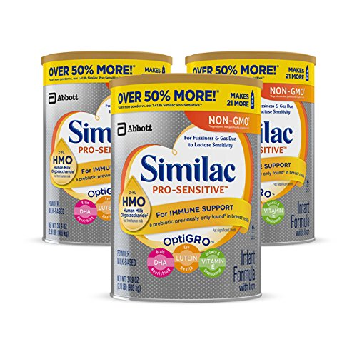 Similac Pro-Sensitive Non-GMO Infant Formula with Iron, with 2'-FL HMO, For Immune Support, Baby Formula, Powder, 34.9 oz, 3 Count (One Month Supply)