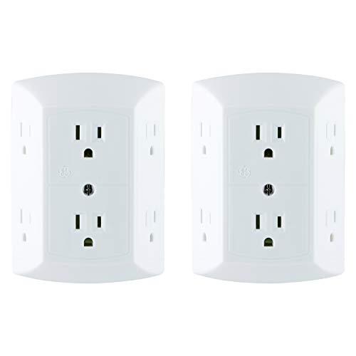 史低价!GE UltraPro 墙插式防电涌 6孔插座 ,2个