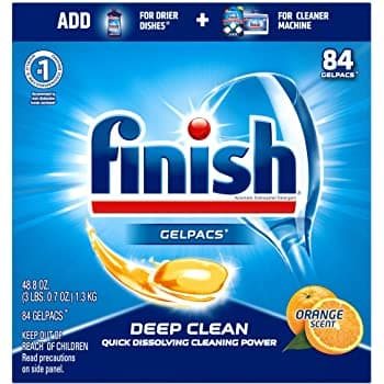 252-Count Finish All In 1 Gelpacs Dishwasher Tablets (Orange)