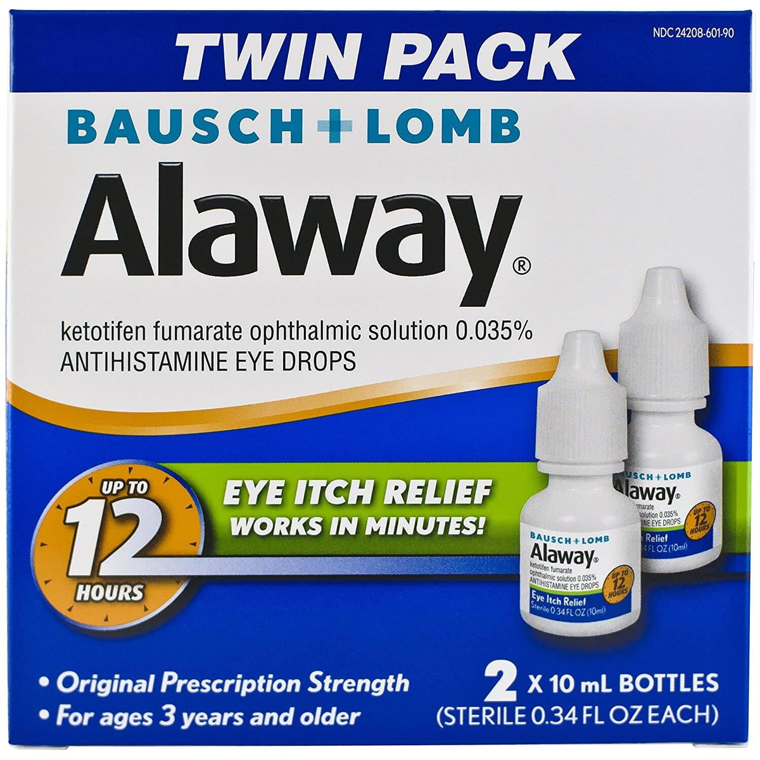 2-Ct 0.34oz Bausch + Lomb Alaway Eye Itch Relief Antihistamine Eye Drops