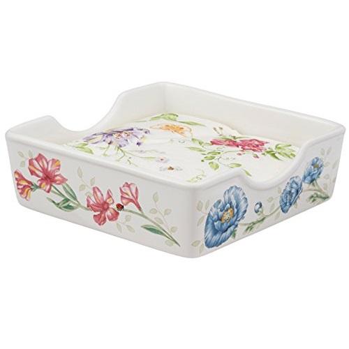 史低价!Lenox Butterfly Meadow 名瓷蝶舞花香 餐巾纸盒