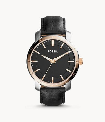 Fossil: Extra 40% Off Select Sale Items: Men's Lance Three-Hand Black Leather Watch