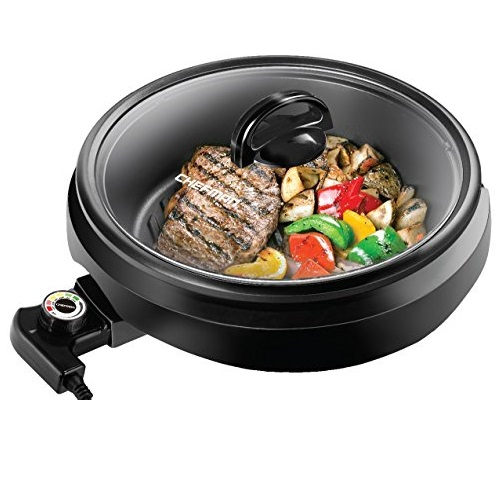 CHEFMAN 3-IN-1 Versatile Indoor Grill Pot & Skillet - Slow Cook, Steam, Simmer, Stir Fry and Serve, Non Stick Electric Griddle Pan w/ Temperature Control & Tempered Glass Lid