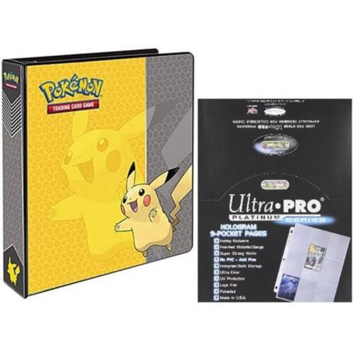 "Ultra Pro Pokemon Pikachu 2"" 3-Ring Binder Card Album + 100 9-Pocket Card Sheets"