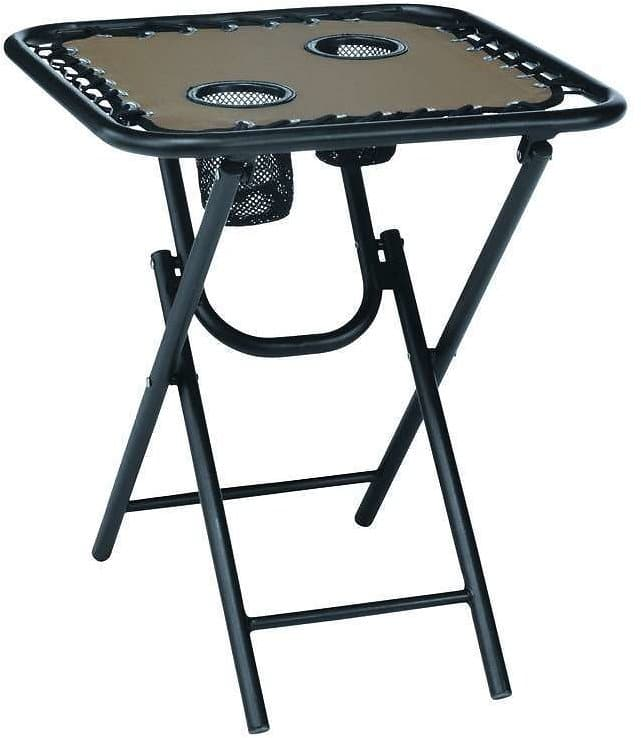 Living Accents Bungee Square Folding Table (Brown)