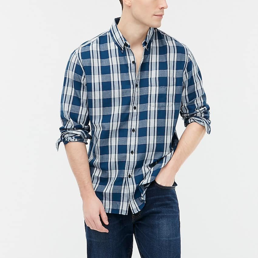 J. Crew Factory: Women's Eyelet Puff-Sleeve Top $5.30, Men's Plaid Twill Shirt