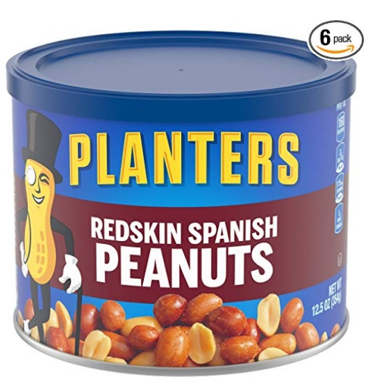 Planters Spanish Redskin Peanuts, 12.5 Oz, Pack of 6