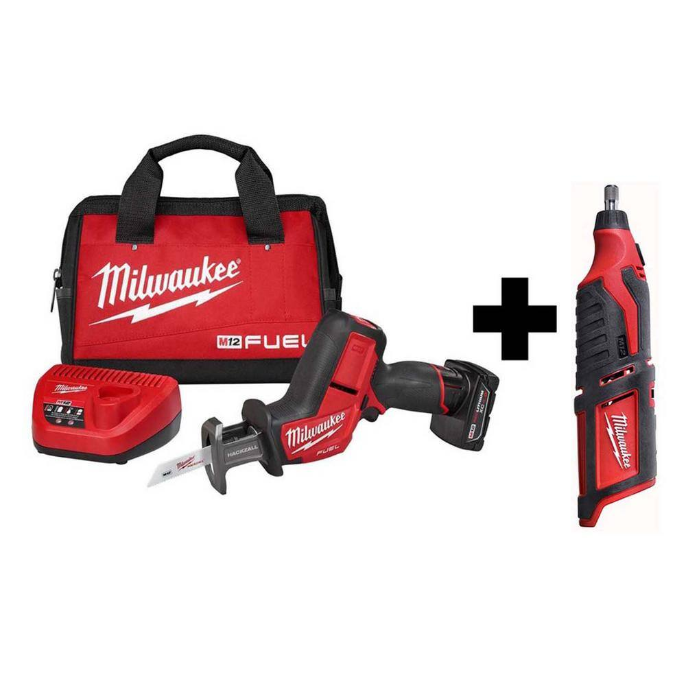 Milwaukee Power Tool Combos: M12 FUEL 12V Li-Ion Reciprocating Saw Kit + Rotary Tool