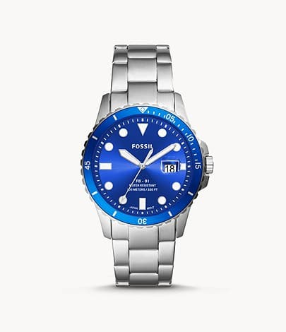 Fossil Three-Hand Date Stainless Steel Quartz Watch w/ Blue Dial