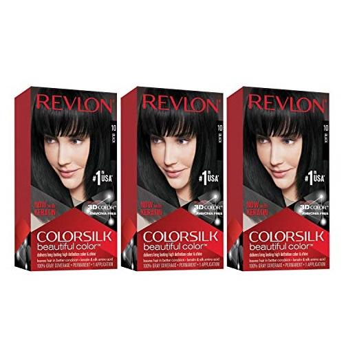 Revlon ColorSilk 持久护发染发剂,黑色,3包