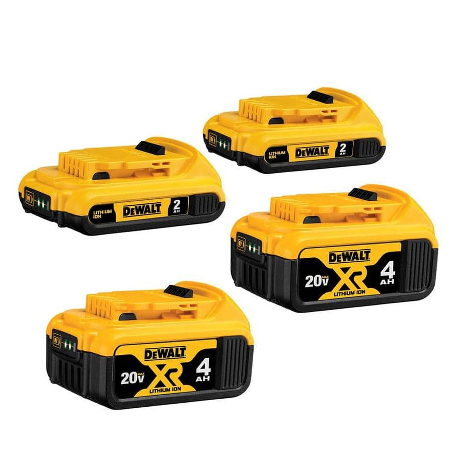 4-Pack DeWalt 20-Volt Max Lithium-Ion Batteries (2x 4.0Ah + 2x 2.0Ah)