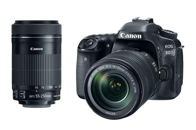 Refurbished Canon DSLR Bundles: 80D w/ 18-135mm + 55-250mm Lenses