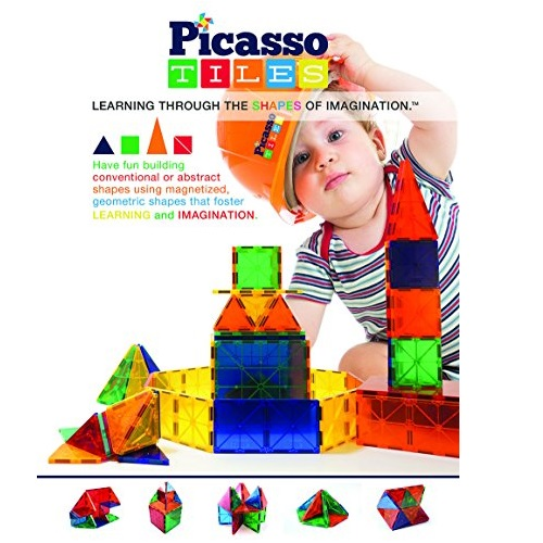PicassoTiles Clear 3d Magnetic Building Blocks, 60-piece