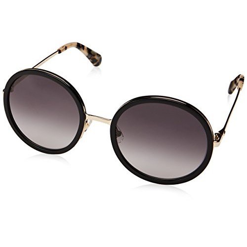 Kate Spade New York Women's Lamonica Round Sunglasses, Black Gold, 54 mm
