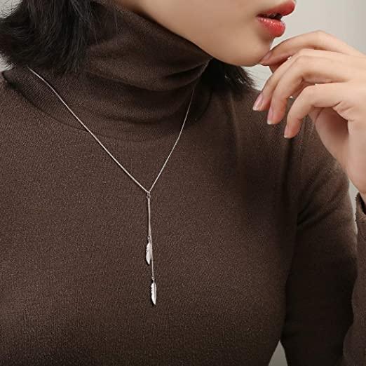 设计独特羽毛吊坠银项链,配毛衣衬衣都好看