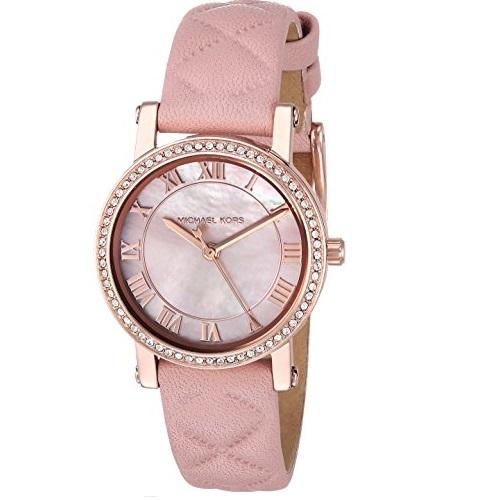 大降!史低价! Michael Kors MK2683 粉色皮质表带石英女士手表