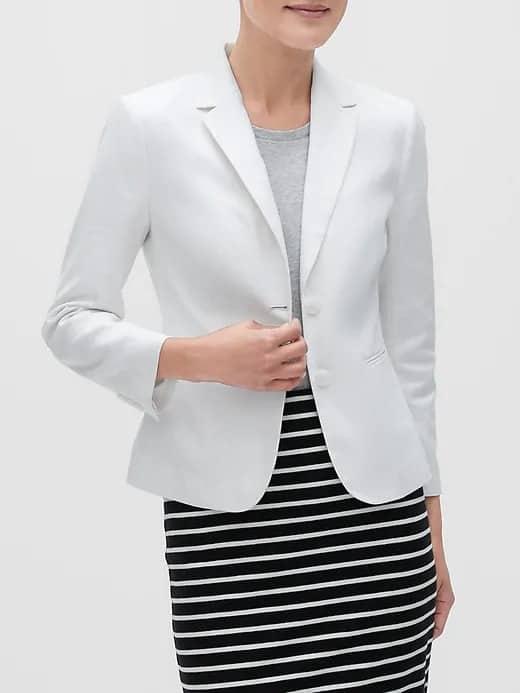 Banana Republic Factory: Men's Summer-Weight Chino $16, Women's Shrunken Linen Blazer