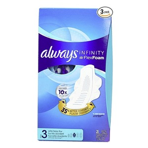 Always Infinity Size 3 Feminine Pads with Wings, Super Absorbency, 28 Count - Pack of 3 (84 Total Count)