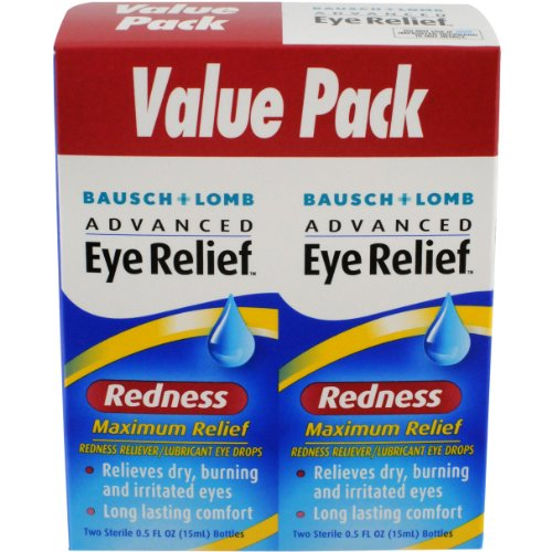 Bausch & Lomb Advanced Eye Relief Maximum Redness Reliever, 0.5 Ounce Bottle Twinpack (Pack of 3)