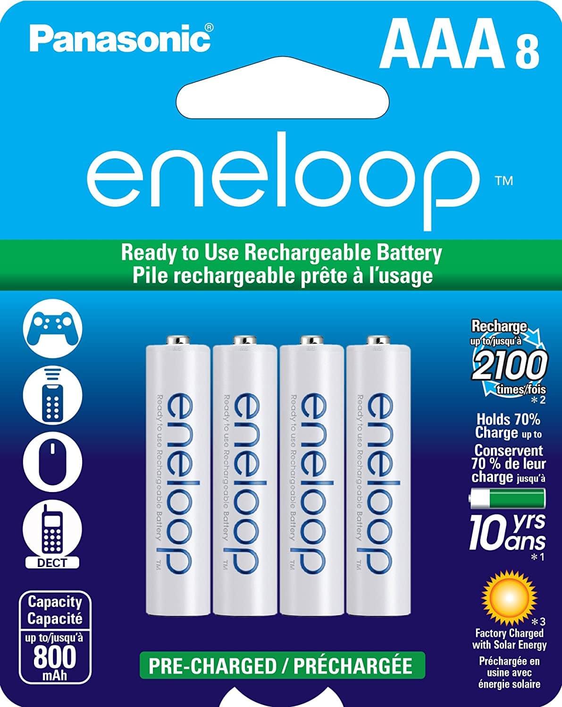 8-Pk Panasonic BK-4MCCA8BA eneloop AAA 2100 Cycle Ni-MH Rechargeable Batteries