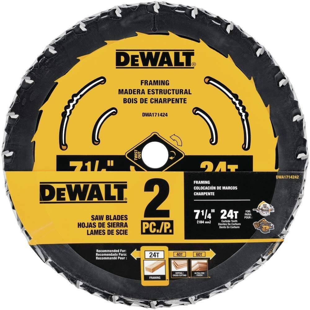 "2-Pack DeWalt 7-1/4"" x 5/8"" 24T Carbide Tipped Saw Blades"