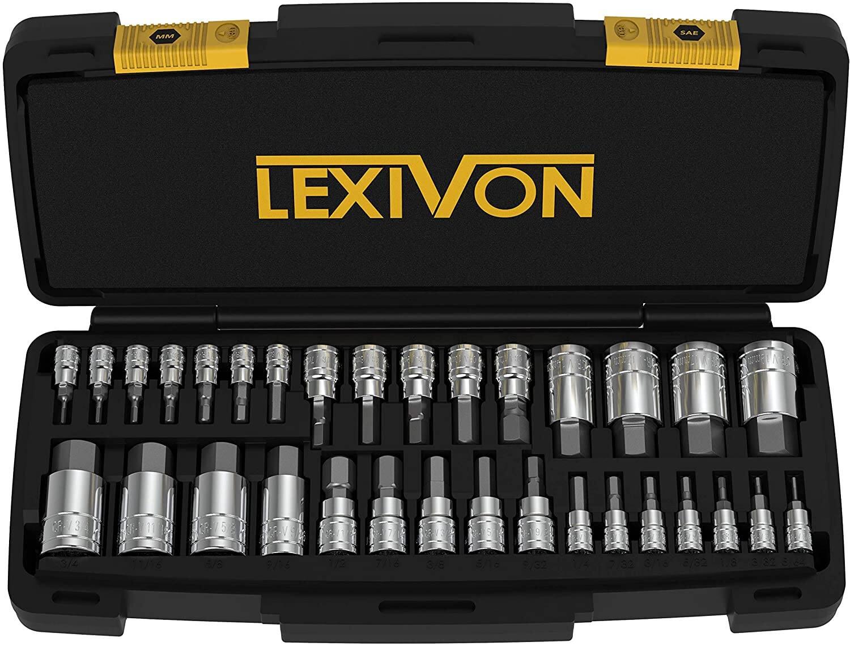 32-Piece LEXIVON S2 Alloy Steel Master HEX Bit Socket Set (SAE & Metric)