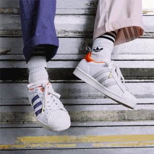 adidas Girls Awesome联名Superstar白橙紫鸳鸯大童款贝壳头