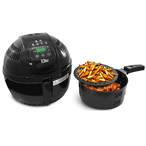 Maxi-Matic Two-Tiered Electric Digital Air Fryer Cooker 1400-Watts with 26 Full Color Recipes, Black 3.5 Quart