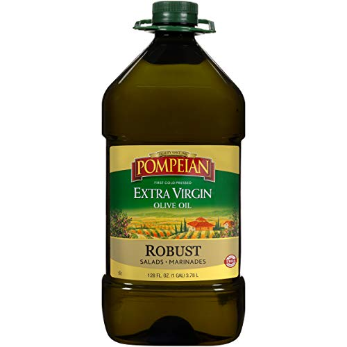 Pompeian Robust Extra Virgin Olive Oil, First Cold Pressed, Full-Bodied Flavor, Perfect for Salad Dressings and Marinades, Naturally Gluten Free, Non-Allergenic, Non-GMO, 128 FL. OZ.