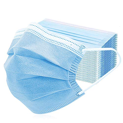 FUDI 50Pcs Disposable Face Mask, Protection Anti Dust Particle 3-Layer Design Mask with Earloops, Breathable and Comfortable Filter Safety Mask for Home Outdoor