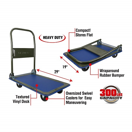Olympia Tools 85-180 300Lb Folding Platform Cart Rolling Flatbed Cart Hand Platform Truck Push Dolly For Loading