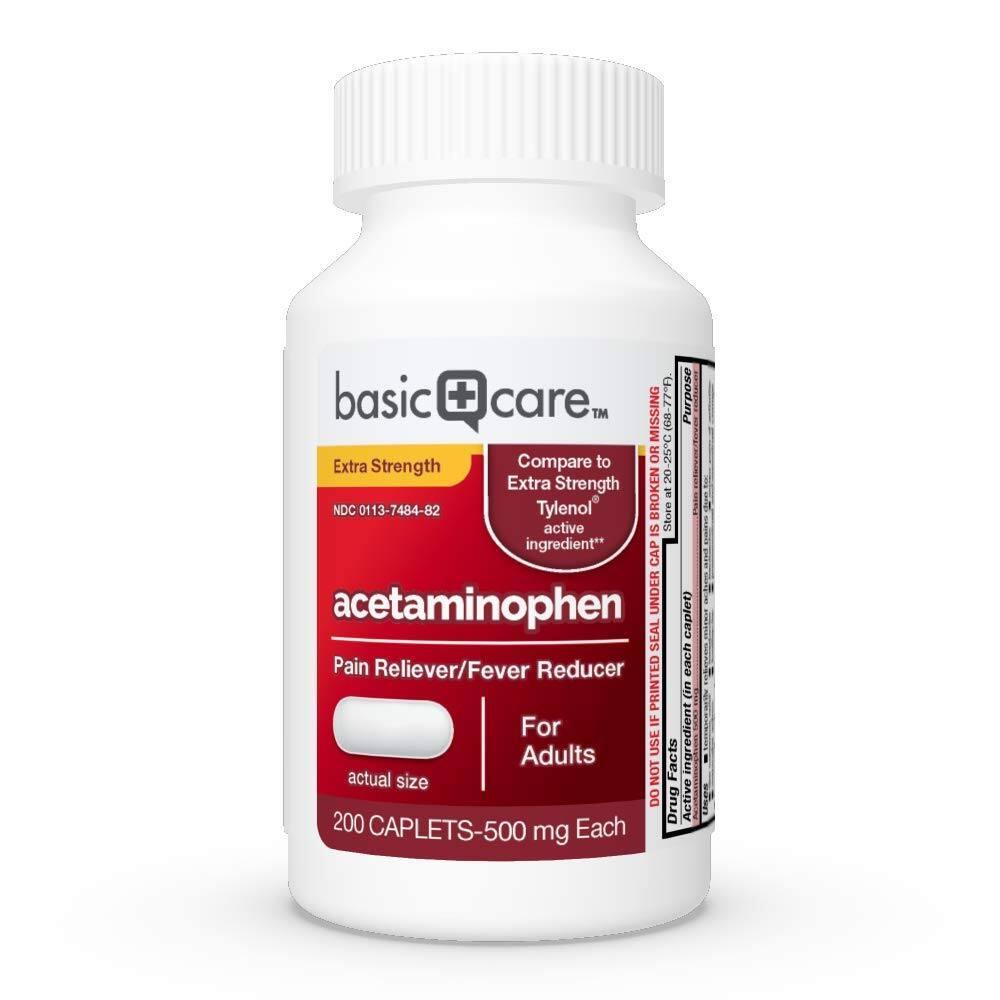 200-Ct Amazon Basic Care Extra Strength Pain Relief Acetaminophen Caplets