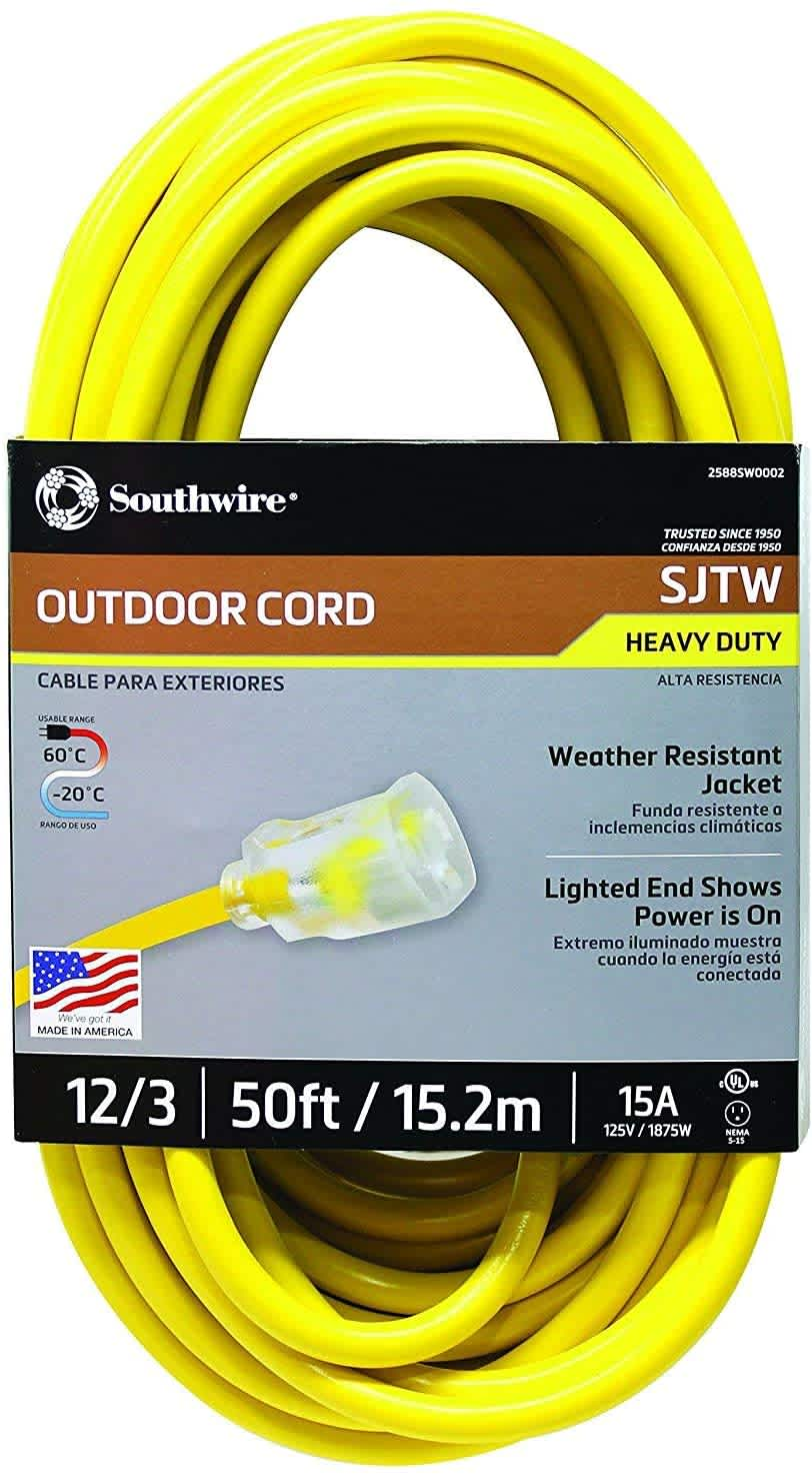 Southwire 50-Foot SJTW 12/3 3-Prong Outdoor Extension Cord