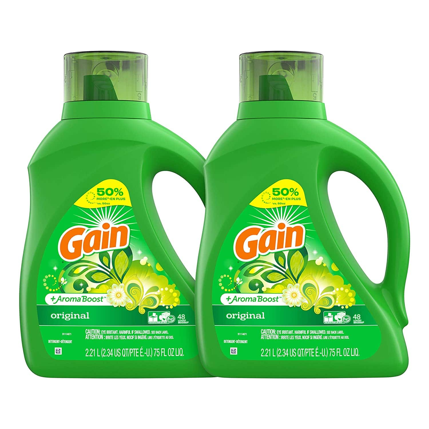2-Count 75oz Gain Laundry Detergent Liquid Plus Aroma Boost (Original)