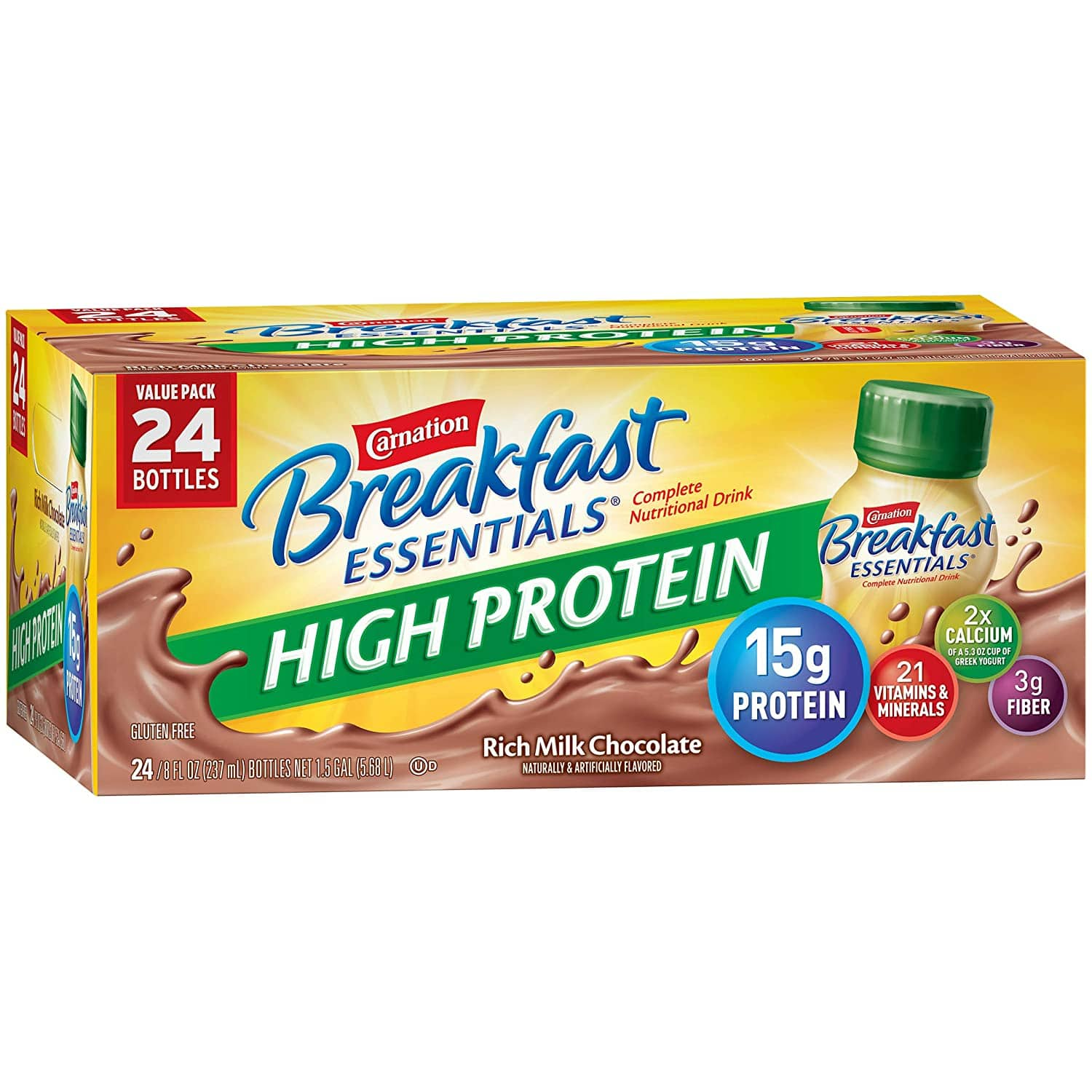 24-Ct 8oz Carnation Breakfast Essentials High Protein Drinks (Rich Milk Chocolate)