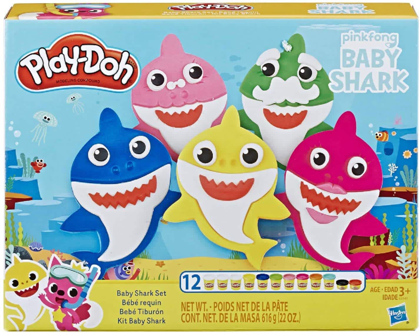 Play-Doh Pinkfong Baby Shark Set w/12 Play-Doh Cans