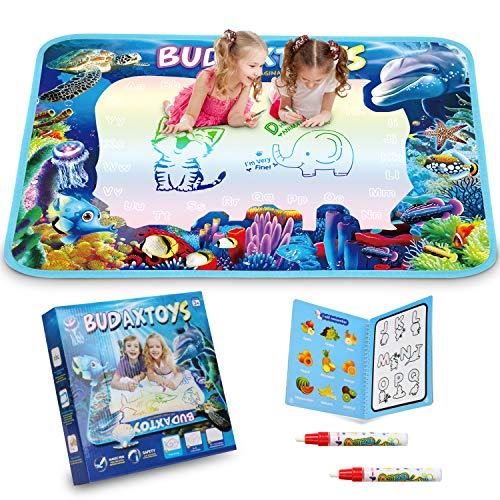 [LATEST 2020] Educational Toys Gifts for Toddler Boys Girl Age 2 3 Year Old, Aqua Magic Doodle Mat 40 X 28 Inches Extra Large, Art Activities Water Drawing Doodling Coloring Mats