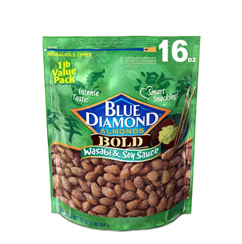 Blue Diamond Almonds 美国大杏仁,芥末酱油口味,16 oz,点击Coupon后仅售