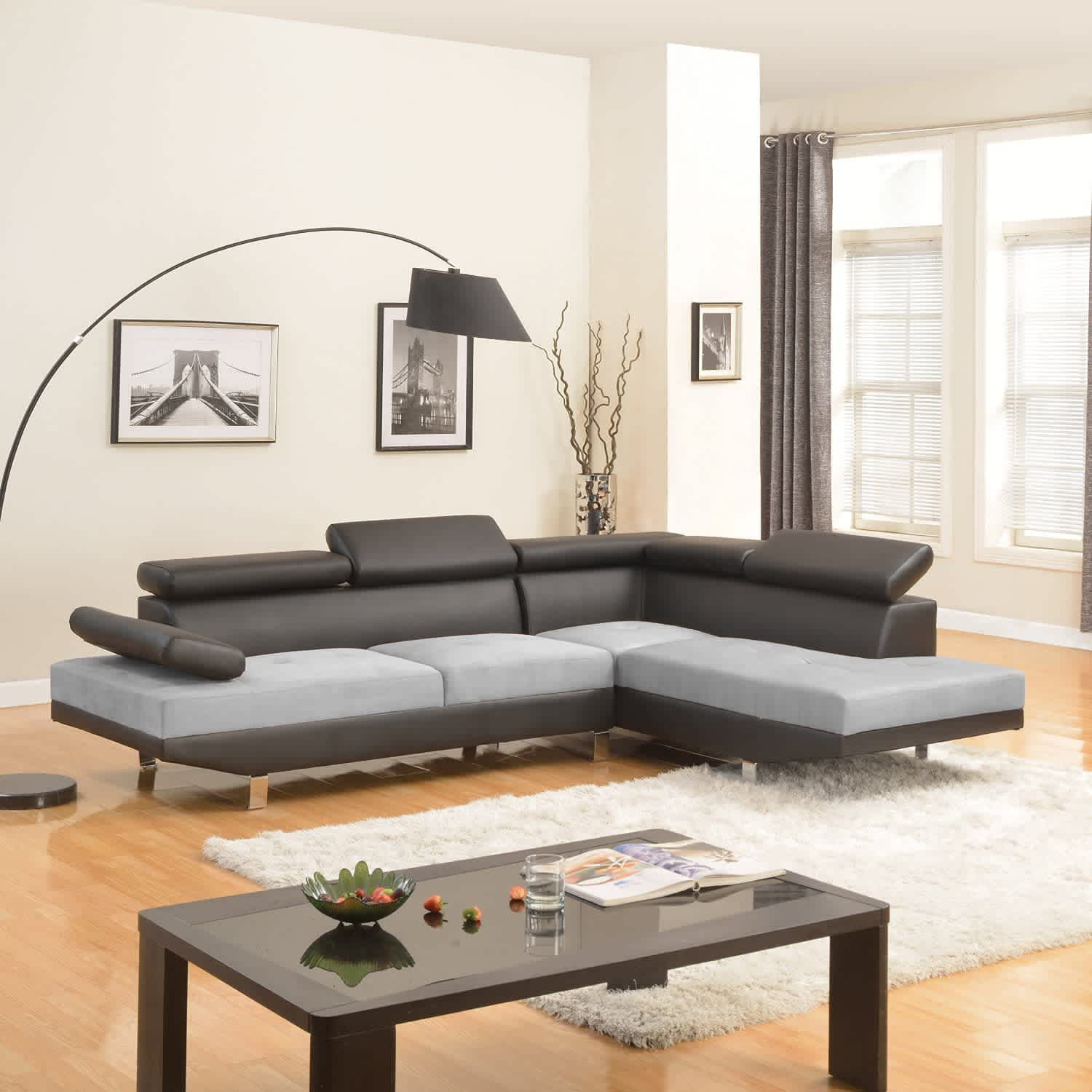 Divano Roma Furniture Two-Tone Sectional Sofa