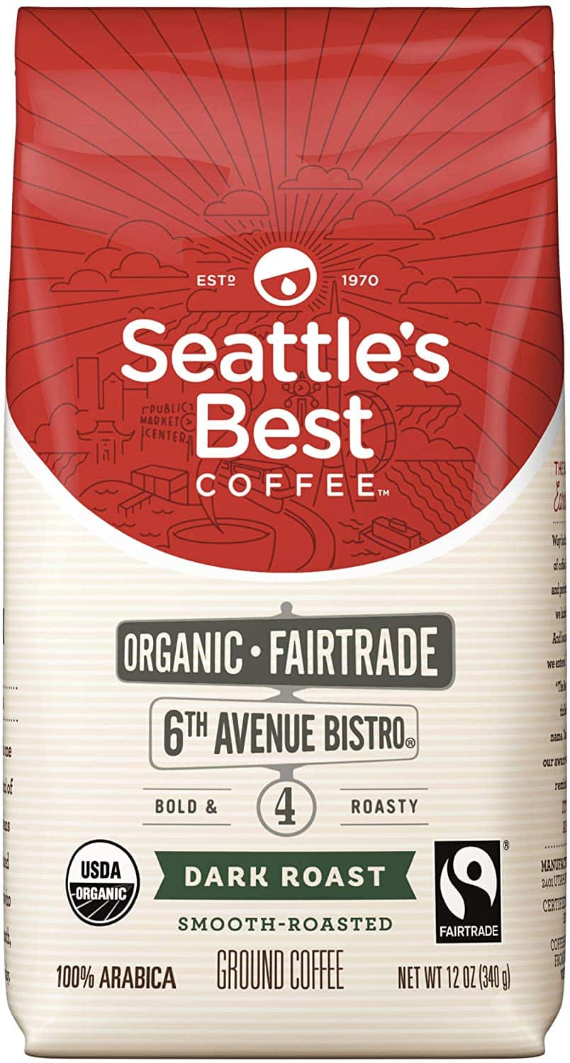 12oz Seattle's Best 6th Avenue Bistro Fair Trade Organic Dark Roast Ground Coffee