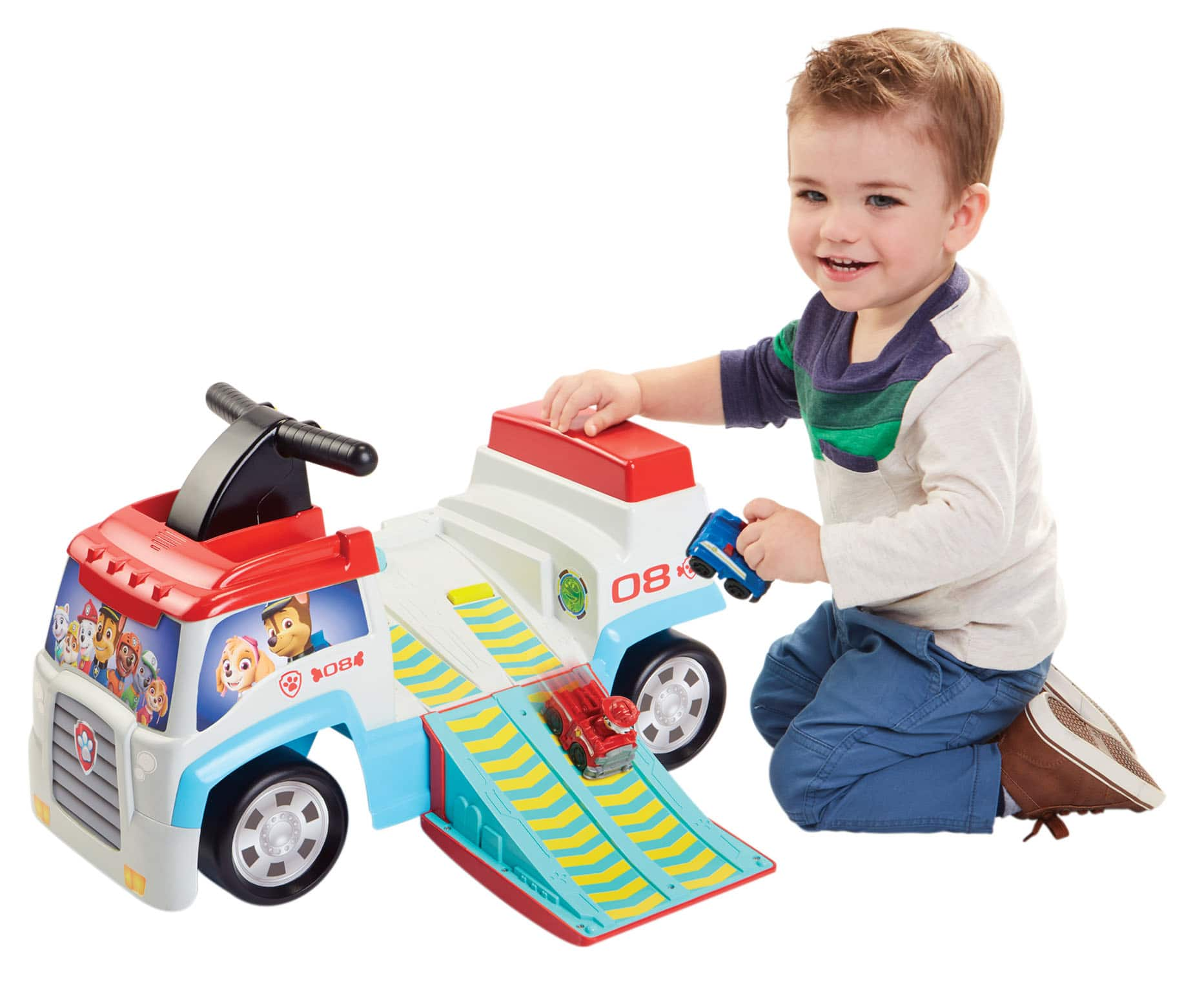 Paw Patroller Ride-On w/ Chase & Marshal Mini Vehicles